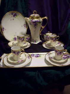 Spectacular Limoges Hand Painted Violet Chocolate Coffee Tea Pot Set from lucy53 on Ruby Lane