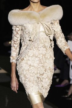 Oh, Valentino, how I love your lace.  The fur, not so much.  But it looks like really great Irish crochet lace from my vintage collection!