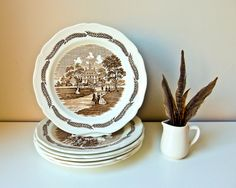 6 Antique Plates Vintage Transferware Dishes J & G by BeeJayKay