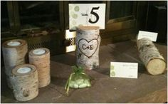 Birch Candle Holders, Place card Holders, & Table Number Holders :  wedding aspen birch candles centerpieces holders place cards reception table numbers trees Birch Centerpieces