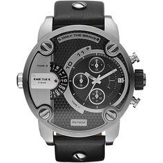 Diesel Daddy Little DZ7256, Diesel Zwarte dual timer chronograaf voor heren