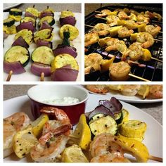Grilled Lemon and Shrimp with Feta Dill Sauce and Grilled Veggies!