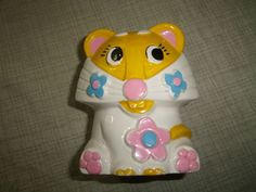Vintage Planter Vase Rubens Originals 1971 Japan Lion Cat Ceramic Flowers