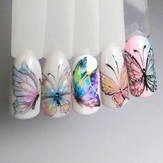 Summer nail design: 10 new products in 2019 Gel Nail Art, Acrylic Nails, Gel Nails, Spring Nails, Summer Nails, Love Nails, Pretty Nails, Water Nails, Butterfly Nail