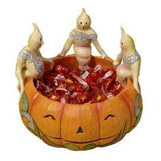 Ghosts on Pumpkin Candy Dish Jim Shore Figurine