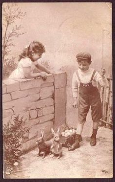 icollect247.com Online Vintage Antiques and Collectables - Children and Rabbits RPPC Paper Ephemera-Postcards and