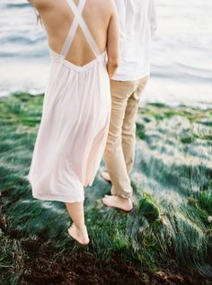 Coastal engagement photos drenched in California light via Magnolia Rouge