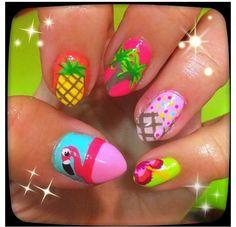 Hi, I'm Haley & my nails need to look like this. Tropical Nail Designs, Tropical Nail Art, Pretty Nail Designs, Nail Art Designs, Get Nails, Hair And Nails, Palm Tree Nail Art, Flamingo Nails, Bright Summer Nails