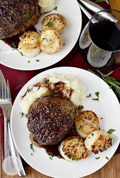 Surf and Turf for Two with sea scallops and filet mignon with rosemary-wine pan sauce is an elegant, decadent dish to make with a loved one at home! #glutenfree #valentinesday | iowagirleats.com