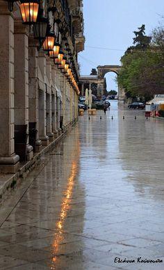 On the road with rain Beautiful World, Beautiful Places, Places To Travel, Places To Visit, Seasons In The Sun, Corfu Town, Corfu Island, Corfu Greece, Thessaloniki