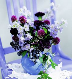 Perfect Wedding Color Combos  Purple + Blue Color Scheme:  These pretty colors will add the perfect touch to a spring or summer wedding. We suggest mixing deep purples and light blues for an elegant color combo; don't be afraid to mix both colors in your bouquets. When figuring out which blues to use in your color palette, lay them out side by side to ensure everything is cohesive.