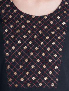 Black Hand Embroidered & Sequin Detailed Cotton Kurta