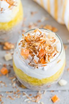 Bring on the sunshine and tropical vibes with this quick and easy Pineapple Coconut Chia Pudding Parfait! With layers of coconut chia pudding, fresh pineapple and coconut cream, this is the ultimate dairy-free dessert! Healthy Chips, Healthy Work Snacks, Quick Snacks, Fruit Recipes, Brunch Recipes, Snack Recipes, Breakfast Recipes, Dip, Coconut Chia Pudding