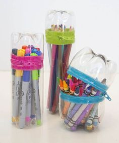 Give markers, colored pencils, and crayons a travel-friendly container (not like those cardboard boxes that tear and fall apart). The bottle exterior gives it structure, while colorful zippers makes it sealable. Get the tutorial at Make It & Love It »   - http://HouseBeautiful.com