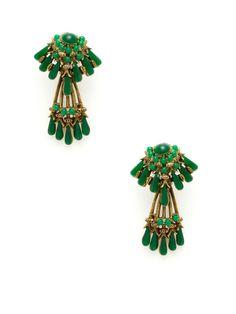 Har Green Resin Multi-Shape Chandelier Earrings by House of Lavande on Gilt.com