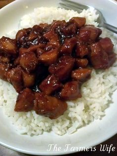 The Farmers Wife: Bourbon Chicken. Used apple sauce and added a shot of whiskey. Jeremy loved it