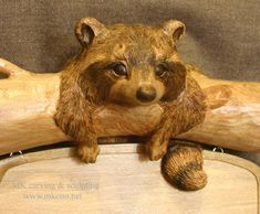 Woodcarving Carved Door Sculpture by MK Carving Canada / gallery2 / Raccoon Sign / woodcarving