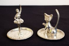 Vintage Ballerina and Cat Silver Plated Ring Holders by DeeGeeRetro on Etsy