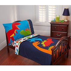 Carteru0027s Prehistoric Pals 4 Piece Toddler Bed Set Includes: Quilted  Bedspread, Fitted Bottom Sheet, Flat Top Sheet And Standard Size Pillowcase.