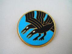 Art Deco David Andersen Sterling Silver Crow Raven Bird Enamel Pin