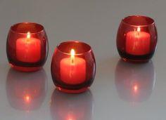 Amazon.com: Red Glass Optic Votive Candle Holder(1 Dozen): Furniture & Decor
