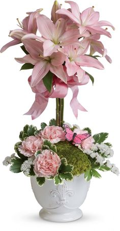 Teleflora's Blushing Lilies  Topiary  $79.95  2013  BEAUTIFUL !!!  Any Mother Would Love To Have This !