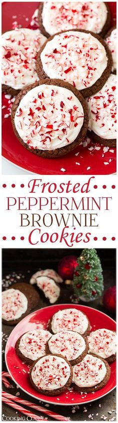 Frosted Peppermint Brownie Cookies - these are soft and fudgy and perfectly pepperminty! Love the addition of cream cheese frosting. Brownie Cookies Frosted Peppermint Brownie Cookies {From Scratch} - Cooking Classy Köstliche Desserts, Holiday Desserts, Holiday Baking, Holiday Treats, Holiday Recipes, Delicious Desserts, Christmas Recipes, Southern Desserts, Holiday Foods