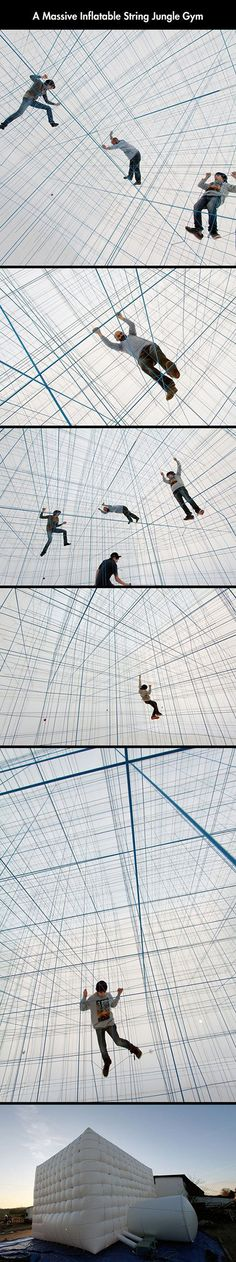 """Created by Croatian-Austrian collective Numen/For Use, String Prototype is a design for an inflatable volume containing a network of cables that can be explored similar to a jungle gym. The design group is known for their large-scale interactive environments made from tape and netting and this is their first foray into what they call """"large geometric inflated objects."""""""