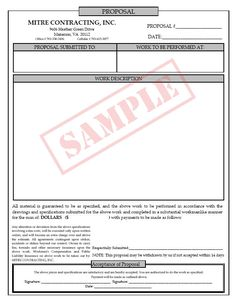 construction proposal template adams nc3819 contractors proposal form 3 part abf nc3819. Black Bedroom Furniture Sets. Home Design Ideas