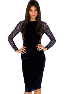 Blue Contrast Lace Long Sleeve Bodycon Dress 19.33
