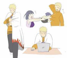 Lol Naruto! So cute! Naruto and Himawari