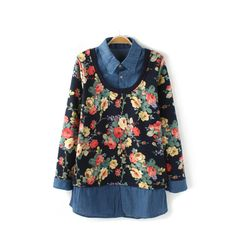 Retro casual flowers pullover thick long blouses BD-X2564