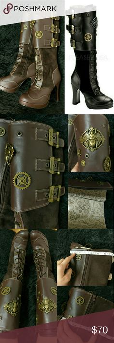 """⌚🎩🐝Demonia Steampunk Knee High Boots 🐝👓👢 """"The Secrets of the Beekeeper"""" has bronze metal bee emblems, gear hardware, springs, buckles. Mixed suede and manmade materials, plastic lining w/gear pattern. High quality, but still have that costume/cosplay feel to them. Wore 3-4x for cosplay (see steampunk lolita outfit). Minor damage: one gear came off leaving small tear & dents on left boot. Creases on toes. Size 8, 7.5 best. Unbuckles, fully adjustable! Flat meas. Shaft: 7"""", Calf: 6.5"""" (2""""…"""