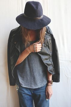 update some easy basics with a leather jacket & brimmed hat || zazumi.com