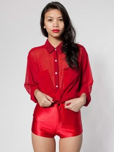 Chiffon Oversized Button-Up | Long Sleeves | Women's Collared Shirts | American Apparel