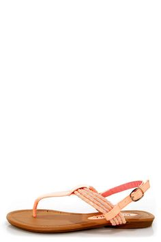 Check it out from Lulus.com! Add the perfect punch of color and shine to your look with the Aliza 17 Blush and Bright Peach Patent Braided Thong Sandals! Vegan leather sandals in almost-neon peach rock a thong-style T-strap that connects to a lovely cluster of peach and matte blush braided straps that drapes across the quarter. Slingback fastens with an adjustable silver buckle (and hidden elastic). 1/2