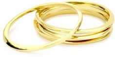 """Jules Smith """"Surf"""" 14k Gold-Plated Bangle Bracelet Set of 5... I really like these simple gold bangles... can be worn separately or as a set depending on how casual you want to dress..."""