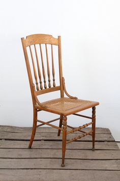 Antique Caned Wood Chair // American Spindle Back