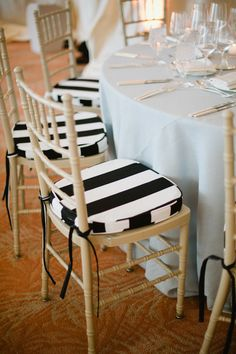 And go for Beetlejuice chic with striped seat covers. | 24 Completely Bewitching Tim Burton Inspired Wedding Ideas