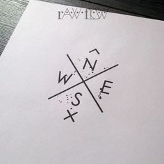 Minimalist compass tattoo design