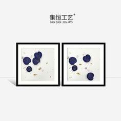 集恒工艺实物画 现代中式风格实物装饰画碧盘青荷系列黑色实木框
