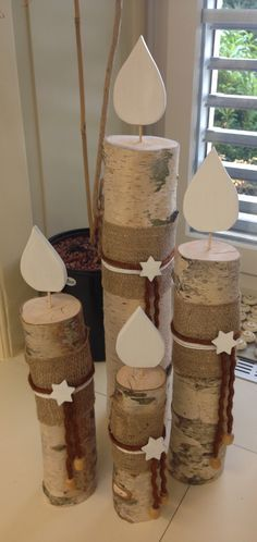 Kerzen aus einem Birkenstamm Mehr