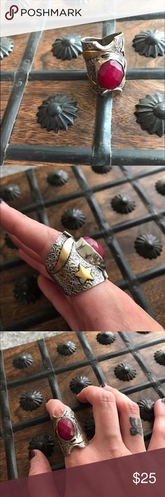 Vanessa Mooney Raw Ruby Statement Ring Raw unpolished authentic Ruby in a Statement Ring with moon and star accent designs. By Vanessa Mooney, tagged for visibility. No trades, no modeling. Price firm unless bundled, no trades whatsoever, please read all closet rules before purchasing 💞 Free People Jewelry Rings