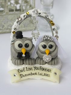 Owl bling cake topper, love bird wedding cake topper with snow base, arch and banner, winter wedding. $89.00, via Etsy.