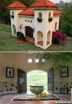 This dog house is amazing. The shutters with the dog bones, its own door...windows. @Jackie Valdez Sierra - wouldn't put it passed you... Dog Mansion, Luxury Dog House, House Breaking Dogs, Jumping Dog, Cool Dog Houses, Amazing Houses, Dog House Plans, Puppy House, Niches