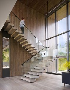 Astounding modern home surrounded by the majestic Rocky Mountains – Modern Steel & Glass Stairs We Love - architecture house Glass Stairs Design, Home Stairs Design, Railing Design, Interior Stairs, Modern House Design, Interior Architecture, Staircase Design Modern, Stair Design, Stairs Architecture