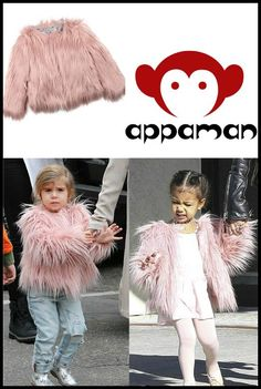 Super stylish cousins – Penelope Disick and North West have good taste.  The duo were spotted wearing the Appaman Faux Fur Coat in pink –$124.