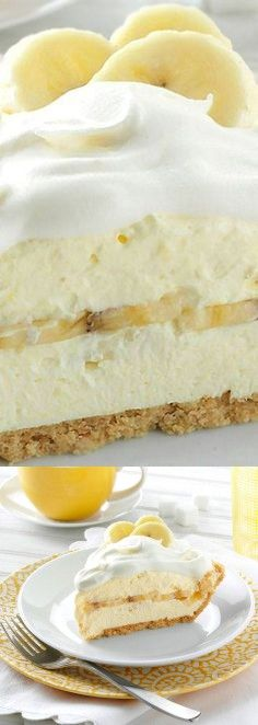 Favorite Banana Cream Pie Recipe ~ This dreamy dessert has a wonderful banana fl. Favorite Banana Cream Pie Recipe ~ This dreamy dessert has a wonderful banana flavor. It looks so pretty…and it cuts easily, too . Banana Recipes, Cake Recipes, Dessert Recipes, Donut Recipes, Just Desserts, Delicious Desserts, Yummy Food, Italian Desserts, Lemon Desserts