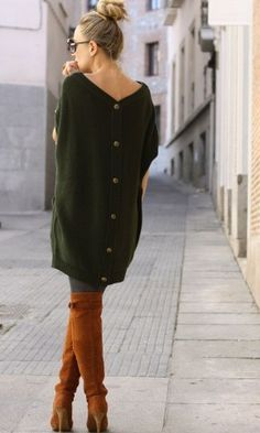 button up back tunic style sack dress with tan knee high boots