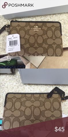 NWT Coach brown and tan wristlet Super cute, corner zipper design for lather phones. Brand new with tags. Coach Bags Clutches & Wristlets